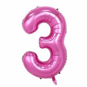Ballon chiffre numéro 3 rose