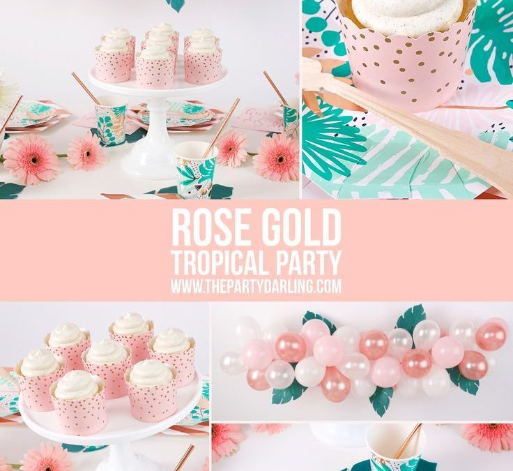 Sur Pinterest Rose Gold Tropical Party Supplies