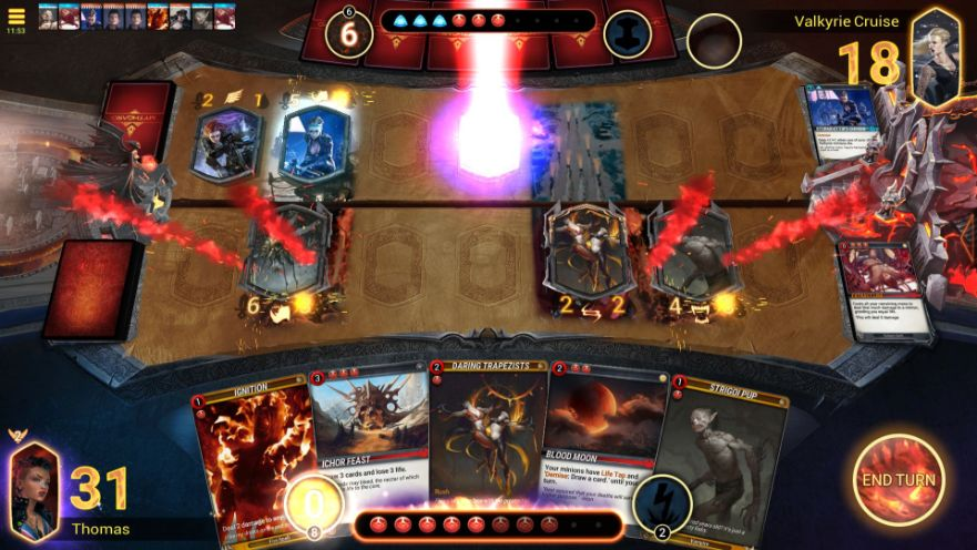 """Gameplay """"class ="""" wp-image-9620 """"srcset ="""" https://accro-jeux.fr/wp-content/uploads/2019/09/1568918776_917_Mythgard-Review-Jeu-de-haut-niveau.jpg 881w, https: // vkehe45v84w20n29n1mw -wpengine.netdna-ssl.com/wp-content/uploads/2019/09/Gameplay-1-300x169.jpg 300w, https://vkehe45v84w20n29n1m63wok-wpengine.netdna-ssl.com/wp-content/uploads/2019/ 09 / Gameplay-1-768x432.jpg 768w, https://vkehe45v84w20n29n1m63wok-wpengine.netdna-ssl.com/wp-content/uploads/2019/09/Gameplay-1-610x343.jpg 610w """"tailles ="""" (max- largeur: 881px) 100vw, 881px """"/></figure></noscript> <p>En continuant, chaque créature et chaque sort coûte une certaine quantité de mana à jouer. En règle générale, plus la carte est puissante, plus le jeu coûte cher. Mythgard contient des centaines de cartes, chacune ayant son propre niveau de puissance et ses propres capacités. Certaines cartes jouent bien ensemble et constituent la base d'un jeu.</p> <p>Quel deck le portier utilise-t-il? Son bataillon est rempli de forces démoniaques qui balayent vos points de vie comme un fléau diabolique. Mais ça ne marchera pas cette fois! Enhardi par ma décision de fuir les griffes de l'Enfer, je descends le Gardien avec une série de coups rapides qui le dirigent directement, ainsi que ses points de vie de sbire grotesque.</p> <h2><span class="""