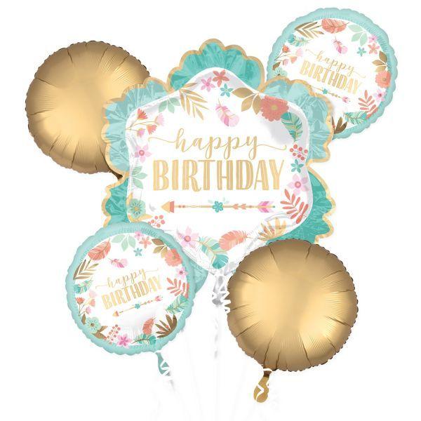 Sur Pinterest Boho Girl Birthday Balloon Bouquet 5pc