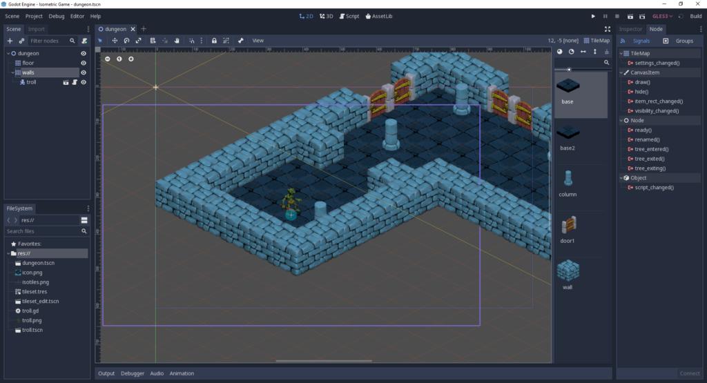 Capture d'écran du moteur de jeu Godot, montrant un jeu 2D isométrique, notre choix pour le meilleur moteur de jeu en 2D
