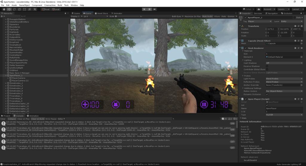 La capture d'écran du moteur de jeu Unity dans l'éditeur, alors que vous travailliez sur un projet de réalité virtuelle, notre choix du meilleur moteur de jeu pour la réalité virtuelle