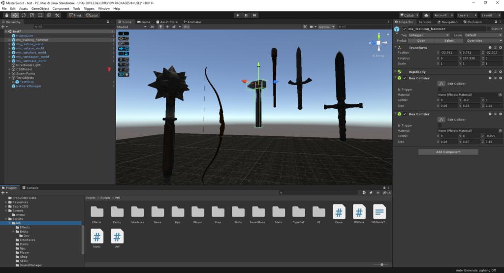 La capture d'écran du moteur de jeu Unity dans l'éditeur, montrant des modèles d'armes médiévaux, notre choix du meilleur moteur de jeu pour développeurs indépendants