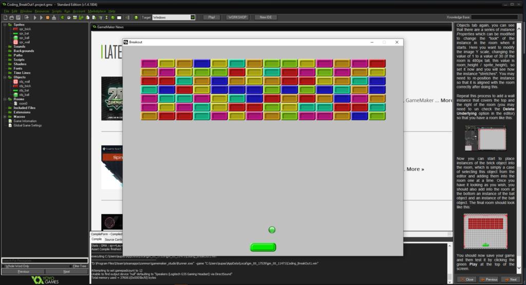 Capture d'écran du moteur de jeu GameMaker Studio, montrant le didacticiel Breakout en cours, notre choix du meilleur moteur de gamine pour les débutants