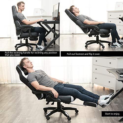 Essentials Chaise de bureau ergonomique Gaming Chaise avec repose-pieds rembourr/é Blanc Umi